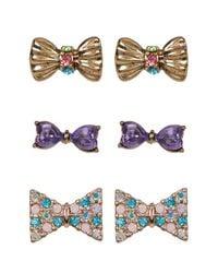 Betsey Johnson | Multicolor Multi-pave Bow Stud Earrings Set - Set Of 3 | Lyst