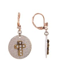 Betsey Johnson | Multicolor Cross Disc Drop Earrings | Lyst