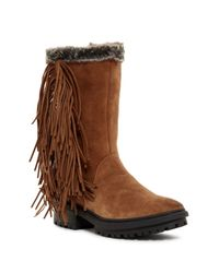 Sam Edelman | Brown Tilden Faux Fur Fringe Boot | Lyst