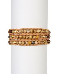 Chan Luu | Leather & Brown Agate Beaded Wrap Bracelet | Lyst