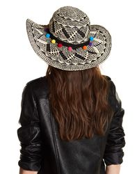Betsey Johnson - Multicolor Pompom Wide Brim Floppy Hat - Lyst