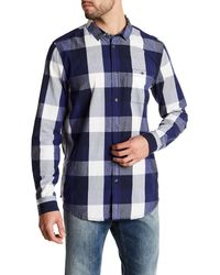 Bench | Blue Button Up Plaid Shirt for Men | Lyst