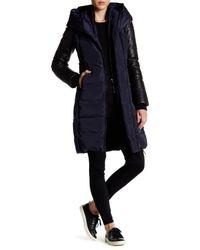 Mackage - Blue Genuine Leather Trim Parka - Lyst