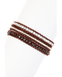 Chan Luu - Multicolor Mixed Semi-precious Gemstone & Nugget Beaded Leather Wrap Bracelet - Lyst