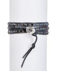 Chan Luu - Sterling Silver Blue Labradorite & Crystal Beaded Wrap Bracelet - Lyst