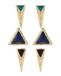 House of Harlow 1960   Metallic Revolution Enamel Triangle Stud Earring Set   Lyst