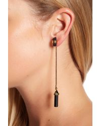 House of Harlow 1960 - Dangling Black Tourmaline Chain Ear Jacket Earrings - Lyst