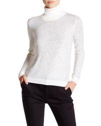 Alice + Olivia | White Jordana Rhinestone Wool Turtleneck Sweater | Lyst