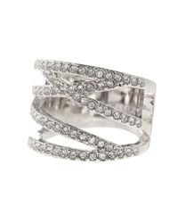 Vince Camuto | Metallic Negative Space Crystal Pave Ring - Size 8 | Lyst
