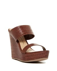 Chinese Laundry. Women's Brown Carson Croc-embossed Platform Wedge Sandal