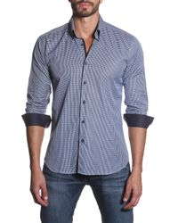 Jared Lang | Blue Houndstooth Semi-fitted Shirt for Men | Lyst