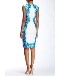 Calvin Klein - Blue Floral Print Panel Dress - Lyst