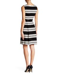 Calvin Klein - Black Striped Belted Fit & Flare Dress - Lyst