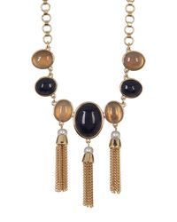 Cole Haan | Multicolor Multi-stone, Freshwater Pearl & Fringe Link Necklace | Lyst