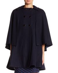 Closet - Blue Wool Blend Double Breasted Cape - Lyst