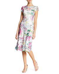 Komarov - Multicolor Floral Keyhole Midi Dress (petite) - Lyst