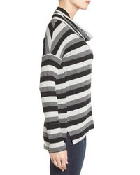 Caslon - Gray Drape Neck Long Sleeve Top - Lyst
