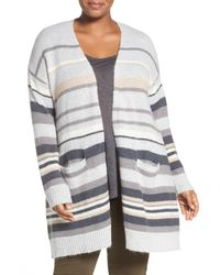Caslon | Gray Stripe Open Front Cardigan (plus Size) | Lyst