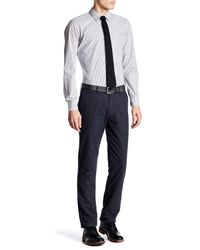 "Thomas Dean | Blue Houndstooth Stretch Pant - 30-34"" Inseam for Men 