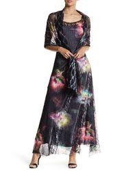 Komarov | Multicolor Floral Chiffon Maxi Dress & Wrap 2-piece Set | Lyst