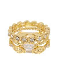 Ariella Collection - Metallic 14k Gold Plated Delicate Stack Ring Set - Lyst