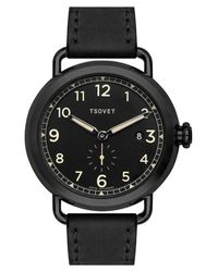Tsovet - Black 'svt-cv43' Round Leather Strap Watch, 43mm for Men - Lyst
