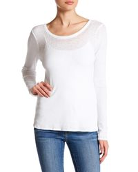 Chaser | White Ribbed Scoop Back Long Sleeve Shirt | Lyst