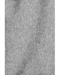 Calvin Klein - Gray Boucle Trim Hooded Wrap Coat - Lyst