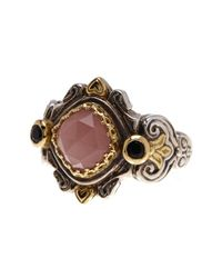 Konstantino - Metallic Sterling Silver & 18k Gold Onyx & Faceted Agate Ring - Size 7 - Lyst