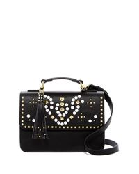 Steve Madden - Black Trudy Small Studded Flap Crossbody - Lyst