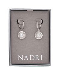 Nadri - Multicolor Round Framed Simulated Pearl Drop Earrings - Lyst