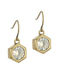 Nicole Miller | Metallic Hexagon Stone Drop Earrings | Lyst