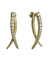 Nicole Miller | Metallic Pave Curve Front To Back Earrings | Lyst