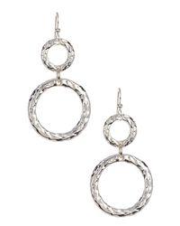 Simon Sebbag - Metallic Sterling Silver Hammered Double Ring Earrings - Lyst
