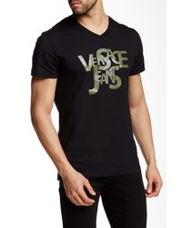 Versace Jeans | Black V-neck Graphic Tee for Men | Lyst