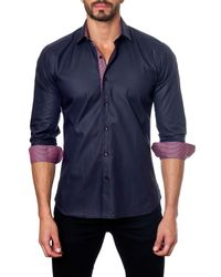 Jared Lang | Blue Long Sleeve Contrast Trim Semi-fitted Shirt for Men | Lyst