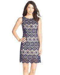 Eliza J - Blue Crochet Sleeveless Shift Dress - Lyst