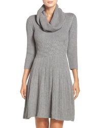Eliza J | Gray Fit & Flare Sweater Dress | Lyst