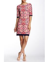 Eliza J - Pink Printed Elbow Sleeve Shift Dress - Lyst