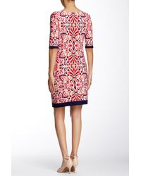 Eliza J - Pink Printed Elbow Sleeve Shift Dress - Lyst
