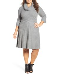 Eliza J | Gray Cowl Neck Fit & Flare Sweater Dress (plus Size) | Lyst