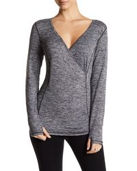 Betsey Johnson | Gray Spacedye Crossover Long Sleeve Tee | Lyst
