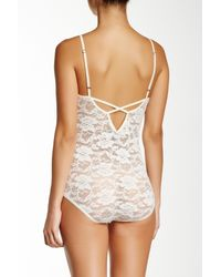 Free People - White Stretch Lace Bodysuit - Lyst