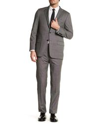 Hickey Freeman | Gray Woven Two Button Notch Lapel Wool Regular Fit Suit for Men | Lyst