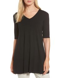 Eileen Fisher - Black V-neck Tunic - Lyst
