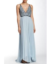 Free People - Blue Belle Of The Ball Genuine Leather Trim Maxi Dress - Lyst