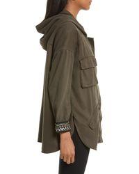 The Kooples Green Embellished Hooded Jacket