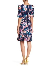 Betsey Johnson - Blue Floral Scuba A-line Dress - Lyst