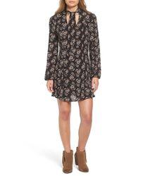 Way-in | Black Tie Neck Floral Print Dress | Lyst