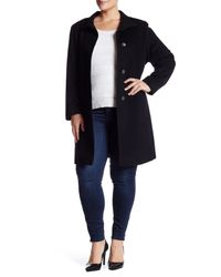 Fleurette - Black Stand Collar Wool Blend Car Coat (plus Size) - Lyst